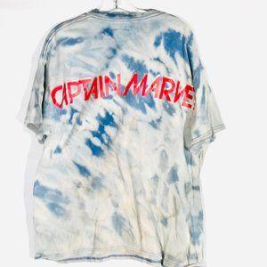 CAPTAIN MARVEL X Custom  Tie Dye Tee Shirt XL Blue